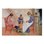 Carl Larsson They Shelled Peas Watercolor Poster
