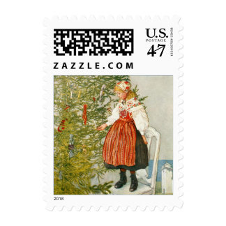 Carl Larsson Vintage Christmas Tree and Young Girl Postage