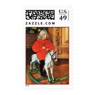 Carl Larsson Vintage Rocking Horse with Child Stamps