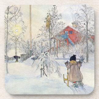 Carl Larsson Winter Scene Holiday Coaster Set