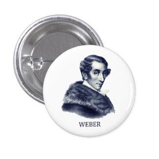 Carl Maria von Weber, azul Pin Redondo De 1 Pulgada