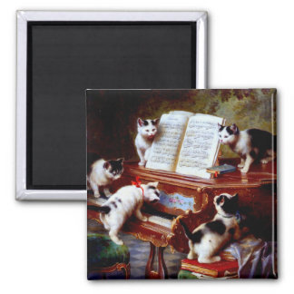 Carl Reichert Kittens Playing Piano 2 Inch Square Magnet