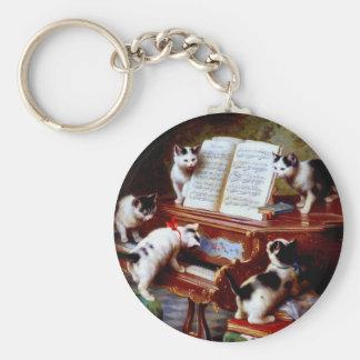 Carl Reichert Kittens Playing Piano Basic Round Button Keychain