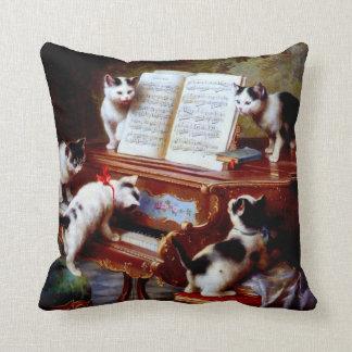 Carl Reichert Kittens Playing Piano Pillow