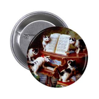 Carl Reichert Kittens Playing Piano Pinback Button