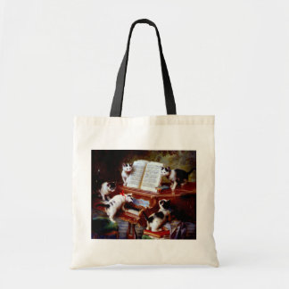 Carl Reichert Kittens Playing Piano Tote Bag