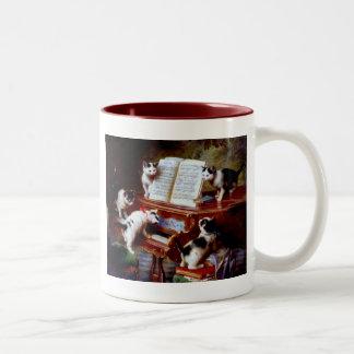 Carl Reichert Kittens Playing Piano Two-Tone Coffee Mug