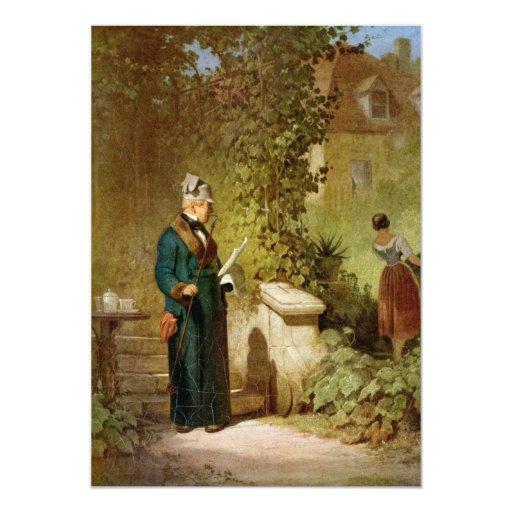 Carl Spitzweg - Newspaper Reader in the Garden 5x7 Paper Invitation Card
