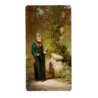 Carl Spitzweg - Newspaper Reader in the Garden Label