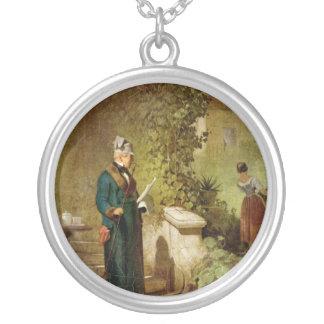 Carl Spitzweg - Newspaper Reader in the Garden Round Pendant Necklace