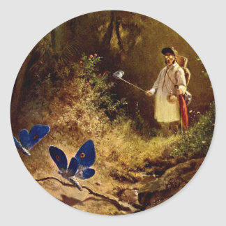 Carl Spitzweg - The Butterfly Hunter Classic Round Sticker