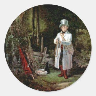 Carl Spitzweg - The Sunday Hunter Round Stickers