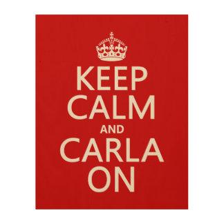 Carla On Wood Print