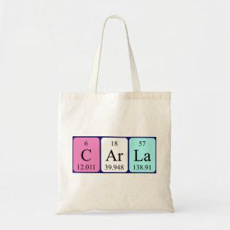 Carla periodic table name tote bag