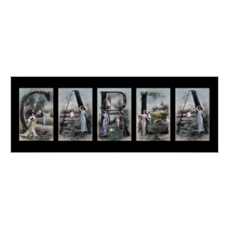 CARLA Vintage Alphabet Letter Name Art Poster