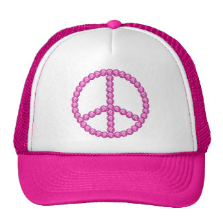 Carleigh s Pink Peace Bling Gifts Trucker Hat