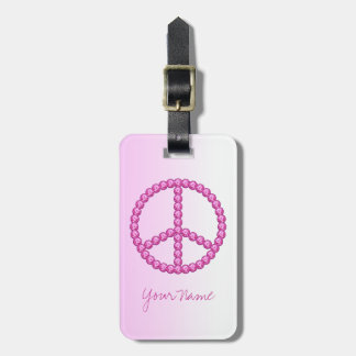 Carleigh's Pink Peace Bling Luggage Tag