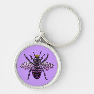 Carleigh's Queen Bee apparel and gifts Silver-Colored Round Keychain