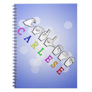 CARLESE NAME SIGN FINGERSPELLED ASL SPIRAL NOTEBOOK