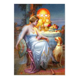 Carlier: Elegant Lady and her Dog Card