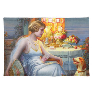 Carlier: Elegant Lady and her Dog Cloth Placemat