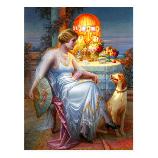 Carlier: Elegant Lady and her Dog Postcard