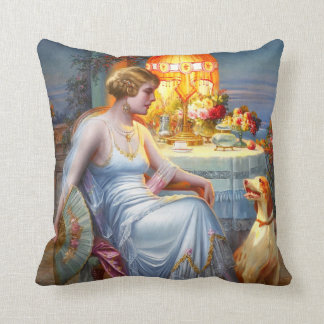 Carlier: Elegant Lady and her Dog Throw Pillow