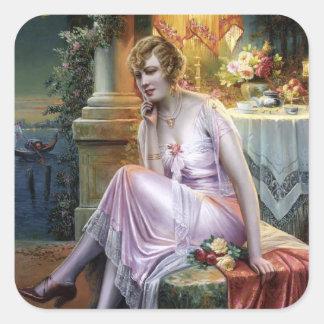 Carlier: Elegant Lady Square Sticker