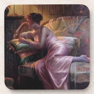 Carlier: Elegant Lady with Mirror Drink Coaster