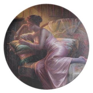 Carlier: Elegant Lady with Mirror Melamine Plate