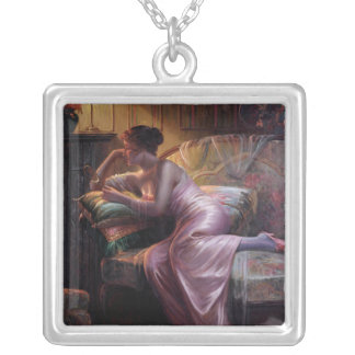 Carlier: Elegant Lady with Mirror Square Pendant Necklace