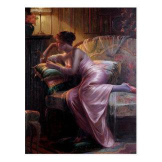 Carlier: Elegant Lady with Mirror Postcard