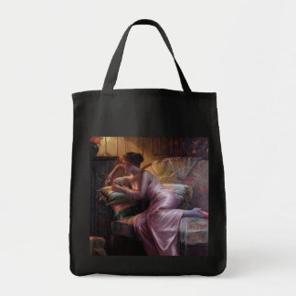 Carlier: Elegant Lady with Mirror Tote Bag