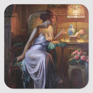 Carlier: Elegant Lady with Necklace Square Sticker