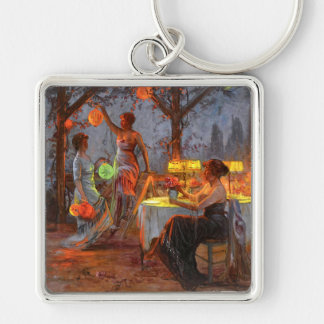 Carlier: Preparing for the Party Silver-Colored Square Keychain
