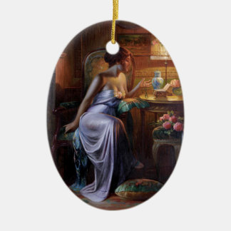Carlier: Señora elegante con el collar Adorno Navideño Ovalado De Cerámica