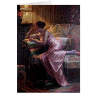 Carlier: Señora elegante con el espejo Tarjeta De Felicitación