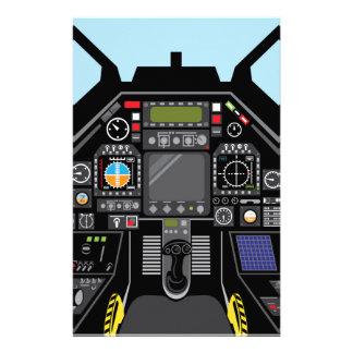 Carlinga del avión de combate papeleria personalizada