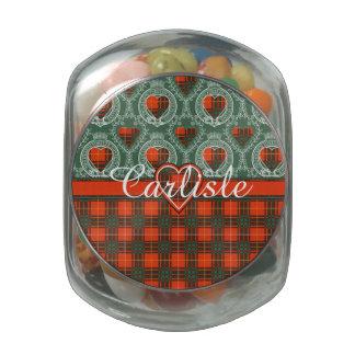 Carlisle clan Plaid Scottish kilt tartan Glass Jar