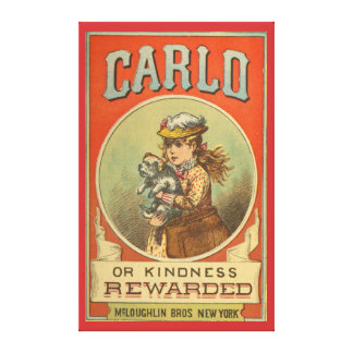 Carlo or Kindness Rewarded Vintage Book cover Wra Stretched Canvas Print