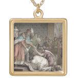Carlomagno (742-814) recibe a los embajadores para colgante cuadrado