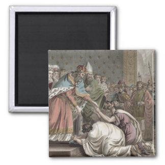 Carlomagno (742-814) recibe a los embajadores para imán cuadrado