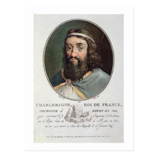 Carlomagno (747-814), rey de Francia, grabó cerca Tarjeta Postal