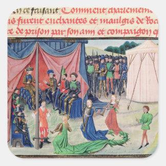 Carlomagno y sus barones que son encantados pegatina cuadrada