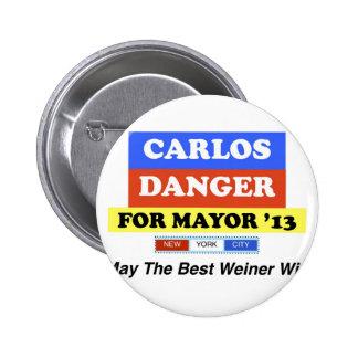 Carlos Danger For Mayor '13 Best Weiner Win Pinback Buttons