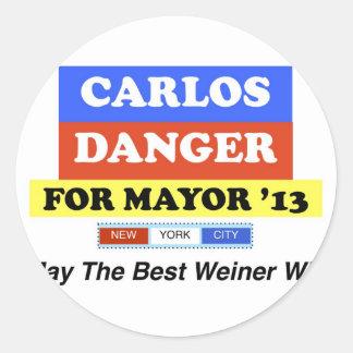 Carlos Danger For Mayor '13 Best Weiner Win Classic Round Sticker