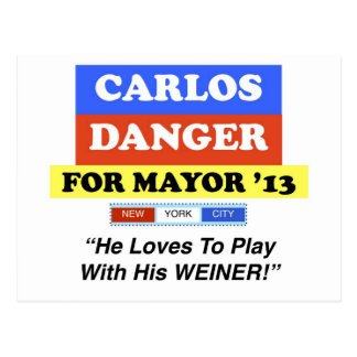 Carlos Danger For Mayor NYC Play With Weiner Postcard
