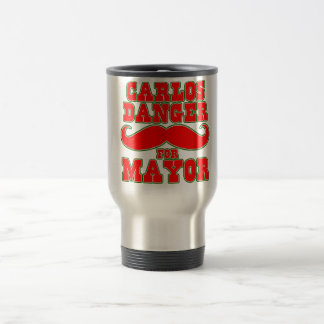 Carlos Danger for Mayor with Mustache 15 Oz Stainless Steel Travel Mug
