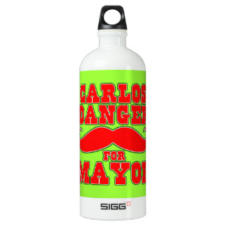 Carlos Danger for Mayor with Mustache Aluminum Water Bottle