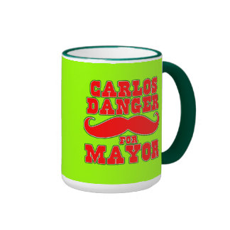 Carlos Danger for Mayor with Mustache Ringer Coffee Mug